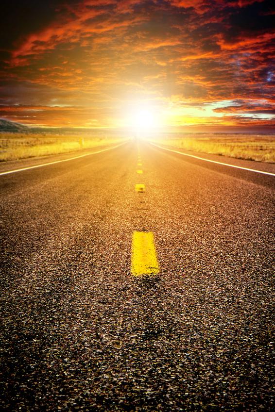 Strada verso il tramonto