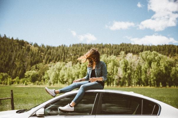 girl car roof