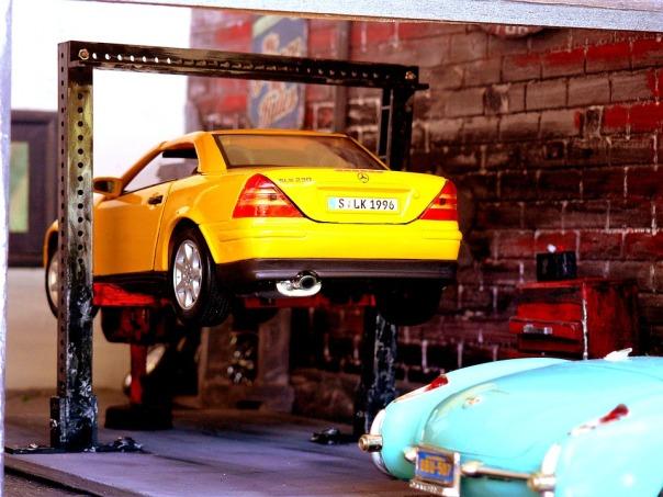 model car jacked up